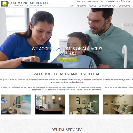 Back2Front Portfolio Client - East Markham Dental